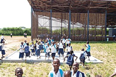 The Charles Boyu Elementary and Junior High School in Ganta, Liberia, designed by Finley Pitt for UNICEF.