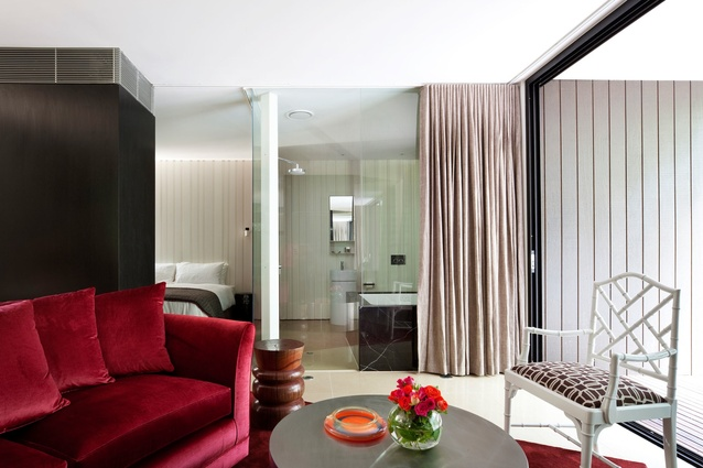 A luxurious hybrid between hotel room and private villa.