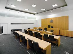 Interior of a courtroom at Manchester.