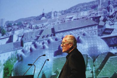 Architect Sir Peter Cook gave the Nielsen design lecture.