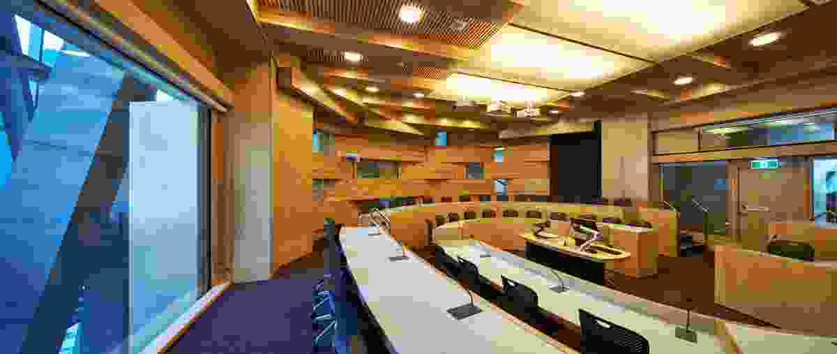 """Inside an oval-shaped classroom, described by UTS as """"high-touch experience spaces."""""""