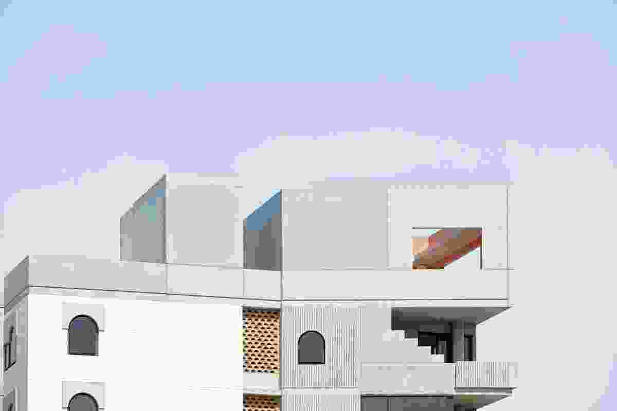 The palette of white brick, concrete and stone offers an alternative to the prevalent timber-and-tin vernacular.