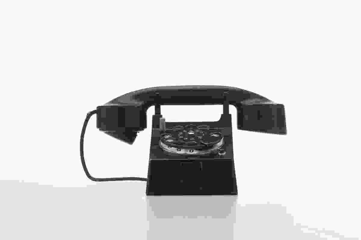 Bauhaus Telephone. Designed by Marcel Breuer and Richard Schadwell, made by Fuld & Co / Telephonbau & Normazeit GmBH, Germany, 1928.