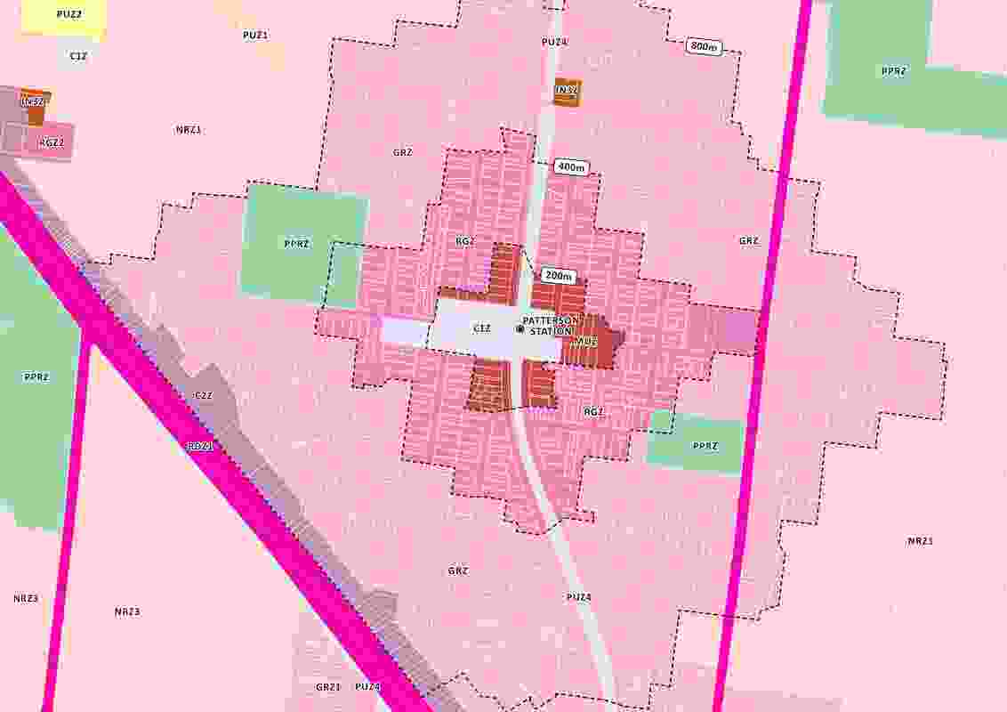 Proposed zoning around Patterson Station in the Melbourne suburb of Bentleigh.
