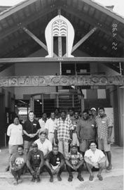 Participants in a community housing management workshop, Yam Island, Torres Strait, 1998. Photograph Paul Memmott.