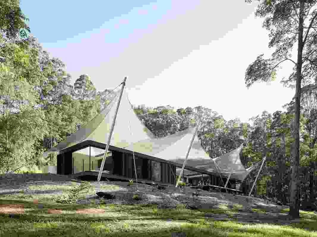 Arguably Sparks Architects' most iconic work, Tent House (2016) is conceived as an open platform in a rainforest clearing.
