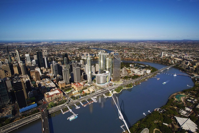 The proposed Queens Wharf Brisbane casino resort masterplanned by Jerde Partnership  will be connected to the South Bank precinct via a new pedestrian bridge.