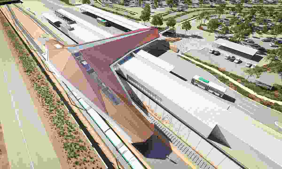 The distinctive roof of Forrestfield Station is intended to reference the site's natural surrounds.
