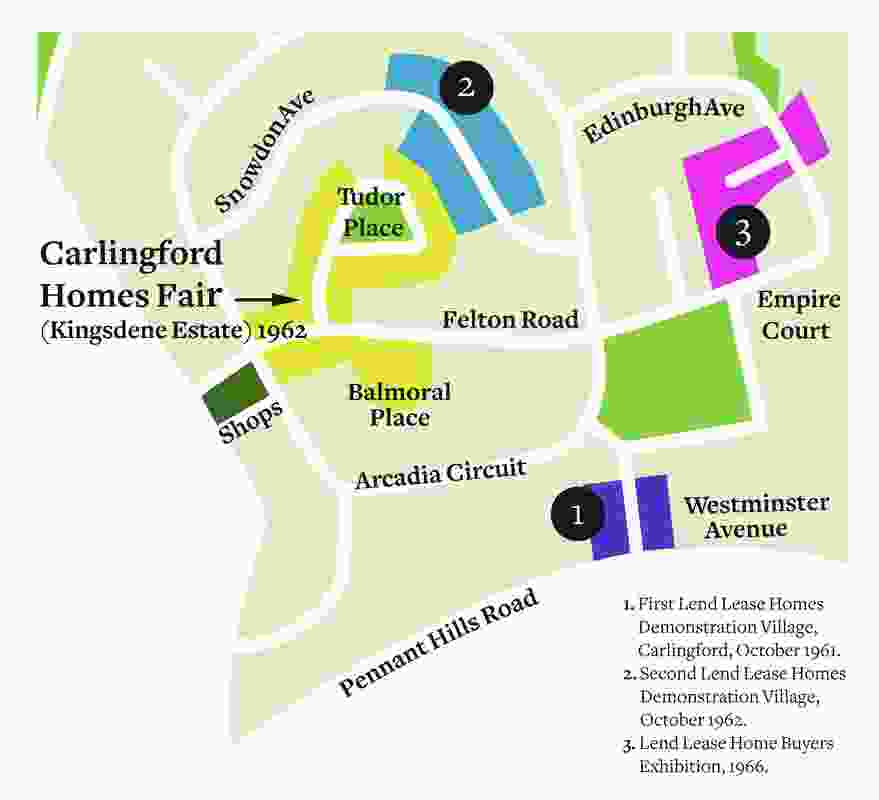 Map of the Carlingford Homes Fair and Lend Lease Homes Demonstration Villages.
