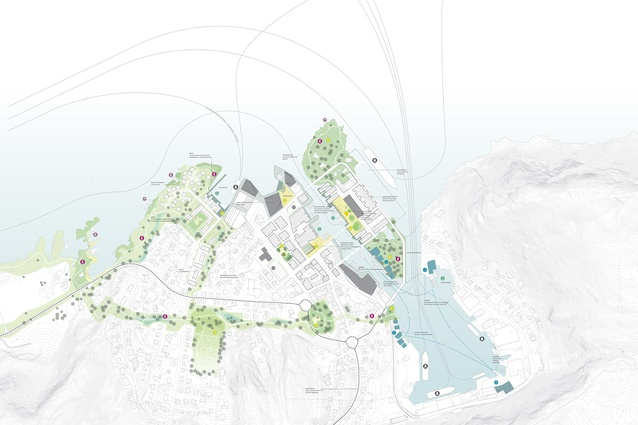 Fosnavåg, a new administrative centre of the Herøy municipality and one of the main fishing villages on the Norwegian coast. Masterplan by karres+brands.