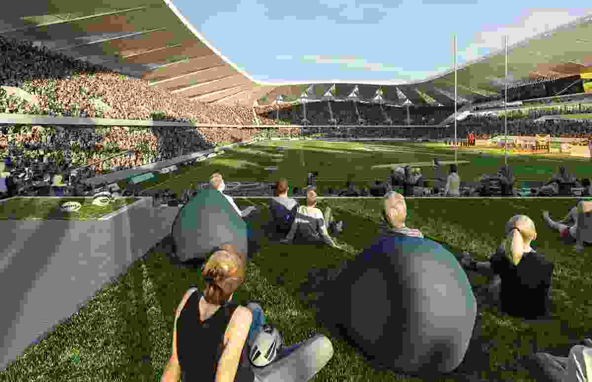 The proposed North Queensland Stadium designed by Cox Architecture and 9Point9 Architects will feature a grassed terrace at the northern end.