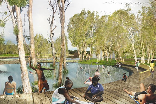 A swimming hole in the masterplan for Jabiru by NAAU and Enlocus.
