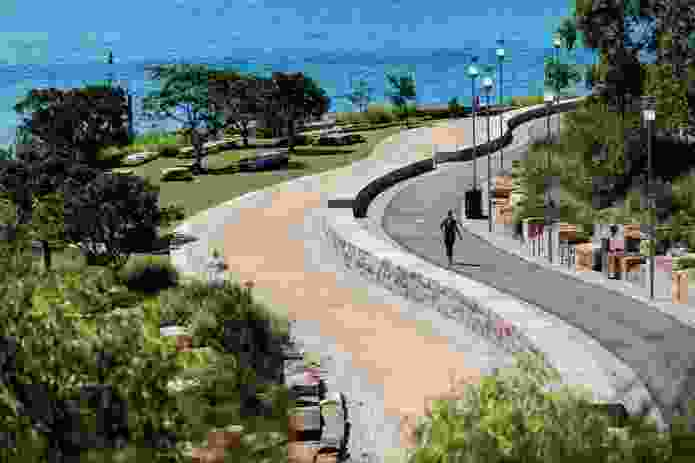 A curved walkway and cycleway follow the shoreline.