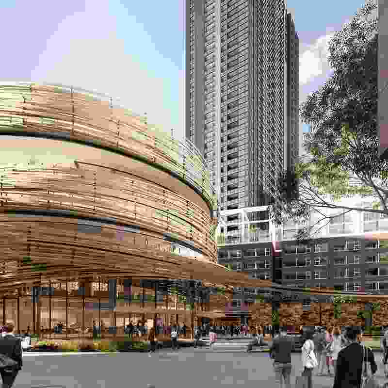 A proposed food hall design by Anthony Gill Architects in the Kengo Kuma-designed Darling Exchange.