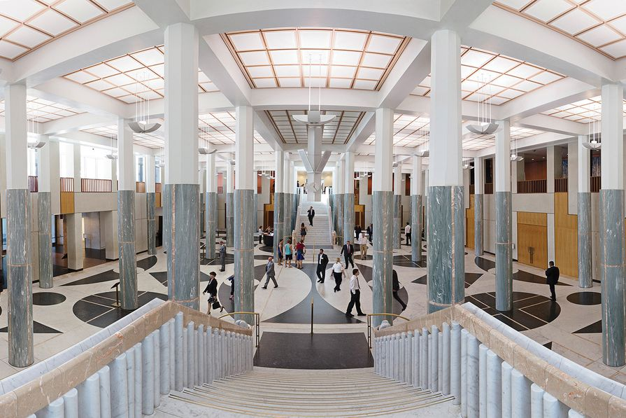 Anne Zahalka, Marble Foyer, Parliament House, 2014. Inkjet print, 80 cm × 160 cm. Parliament House Art Collection, Canberra