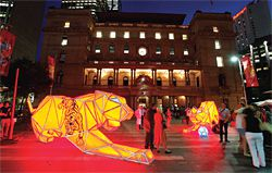 LAVA's giant origami tiger, installed outside Sydney's Customs House for Chinese New Year. Photograph by Jamie Williams.