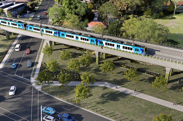 Proposal to elevate sections of the Dandenong-Cranbourne line in Melbourne designed by Cox Architecture and Aspect Studios.