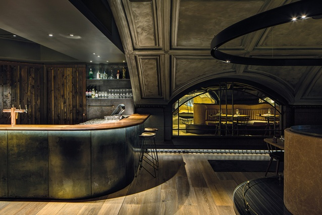 In the distillery bar is a reflection of industrial America, featuring brass, steel, stone, leather and timber panelling.