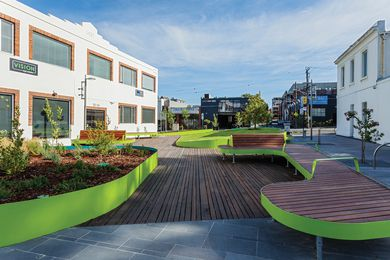 Oxford Street Park after completion. The project was a collaboration between Urban Initiatives, City of Yarra and Leanne O'Shea.