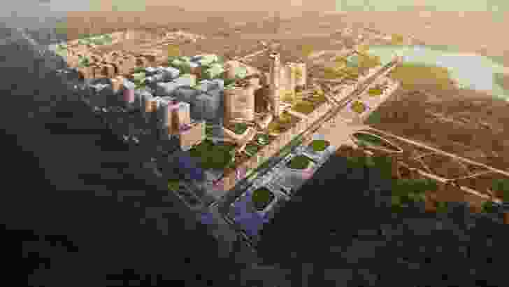 An aerial render of the proposed Word Trade Centre Sydney development masterplanned by Woods Bagot.