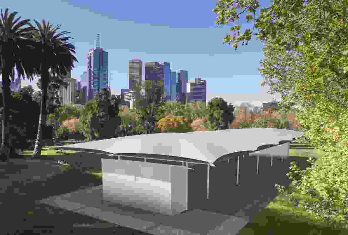 A render of the 2019 MPavilion by Glenn Murcutt.