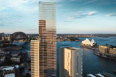 A render of Kerry Hill Architects' One Circular Quay tower circulated by previous developer Dalian Wanda Group.