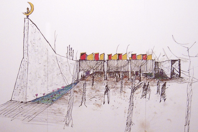 Glenn Murcutt's sketch of the Australian Islamic Centre by Glenn Murcutt and Elevli Plus Architects.