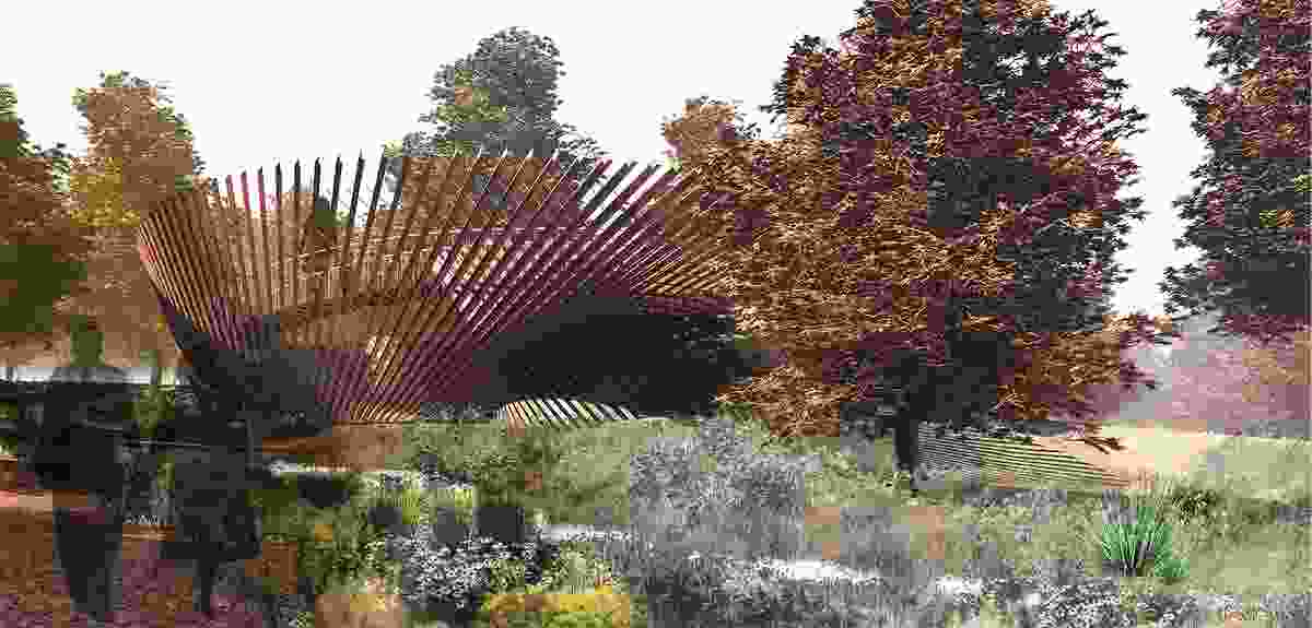 Freefall by Bligh Tanner, a proposed installation at the National Arboretum.