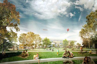 The Western Sydney Stadium precinct designed by Aspect Studios.