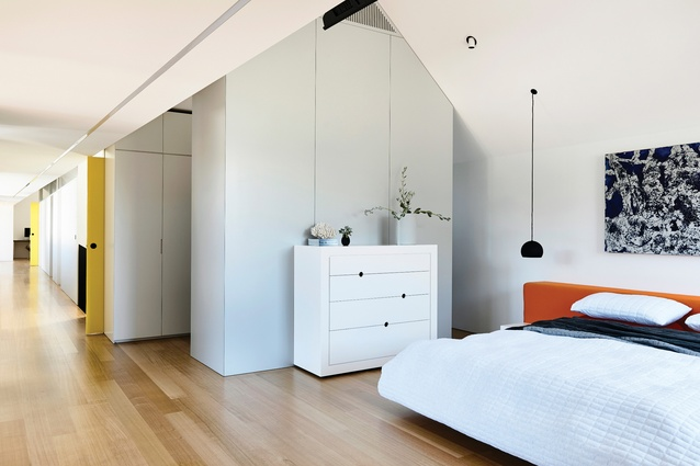 The gable form of the roof contributes to the intimate, secluded feel of the upstairs bedrooms. Artwork: Sacha Allen.
