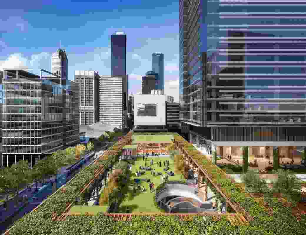An elevated park, part of the Melbourne Quarter precinct development.