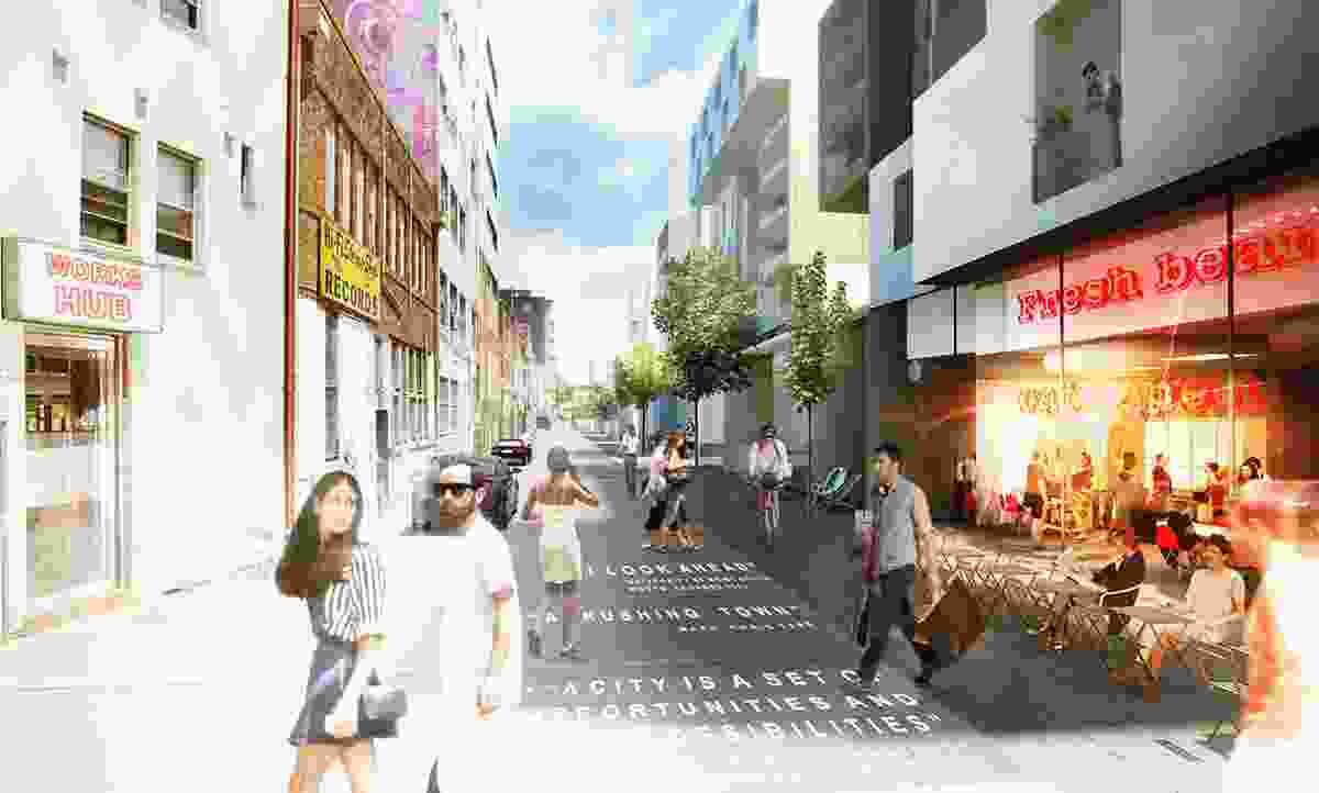 Proposed view at Civic Lane in the plan to revitalize Newcastle.