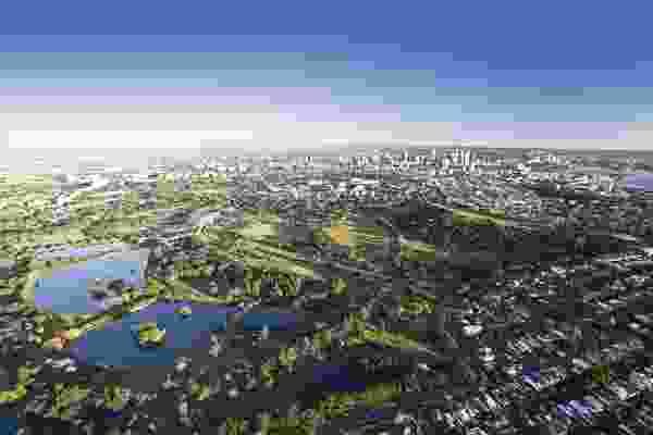 Aerial view of Centennial Park, Sydney.
