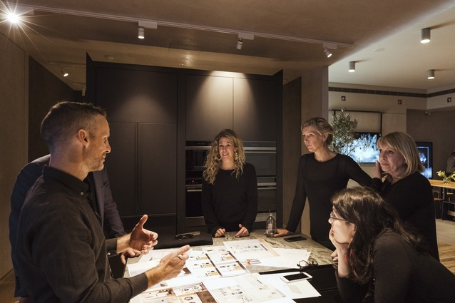 Fisher & Paykel's chief designer Mark Haydon talks with workshop attendees about upcoming products.