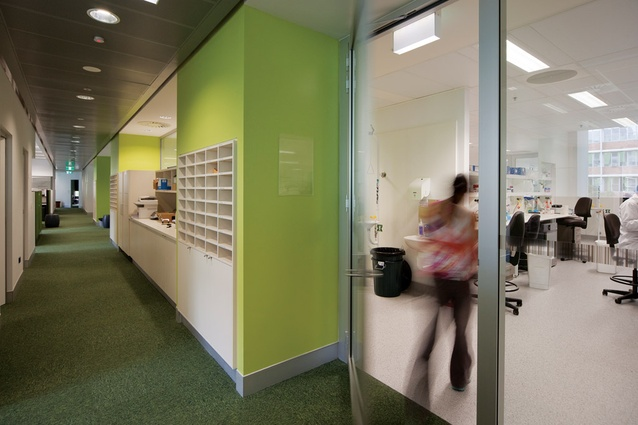 Corridors are generous and multifunctional to encourage socialization.