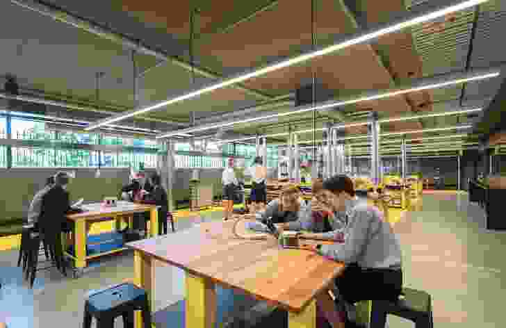 The organization of project rooms and design and technology workshops on the lower-ground floor is a particular strength of the project, offering a practical and effective makerspace.