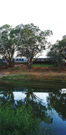 The new accommodation and medical services wing seen across the Barka, as the Darling River is known to the Barkinji people for whom it is culturally and spiritually significant.Image: Brett Boardman