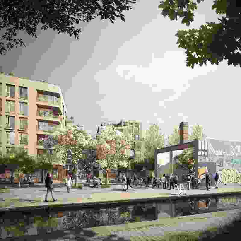 Wickside, Hackney by Ash Sakula Architects in London, a proposal for a canal-side development that provides 500 homes and 300 jobs.