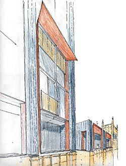 Sketch of the carefully worked facade.
