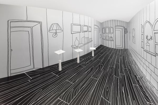 Thin Black Lines and Dancing Squares by Nendo, installation at the Taiwan Craft Research Institute (2011).