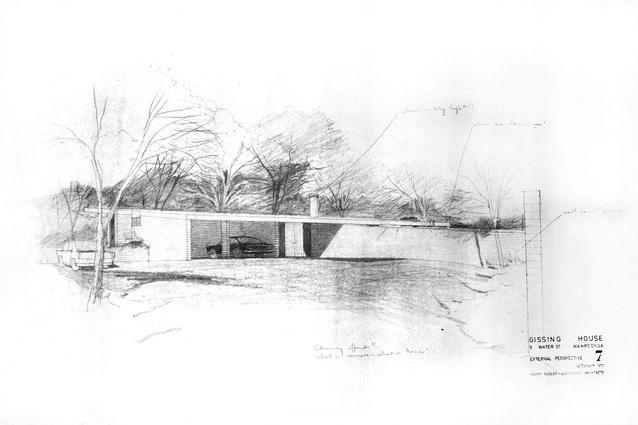 Harry Seidler's original plans for the Gissing House.