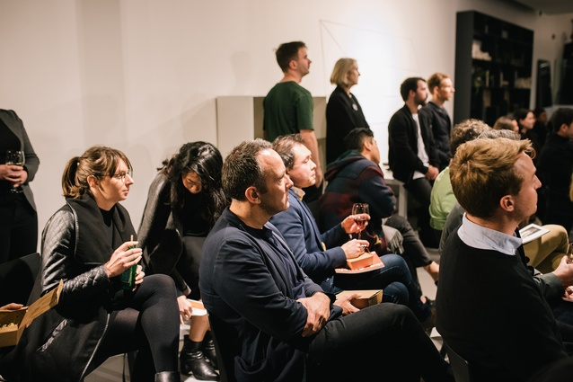 The crowd at Artichoke Night School, held at Space Furniture's Melbourne showroom.