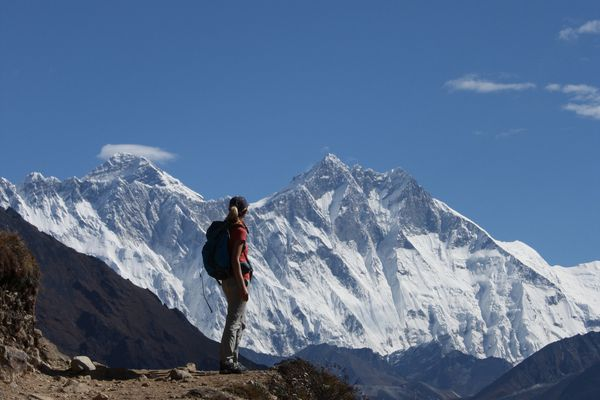 Living the dream: trekking in the Everest (Khumbu) region of Nepal, the looming peaks of Everest, Lhotse and Nuptse before me.