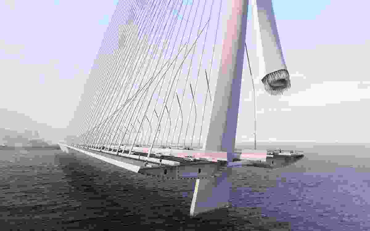 The bridge will be the longest single-tower, asymmetric cable-stayed bridge in the world, and will be supported by a single 175 metre concrete structural mast.