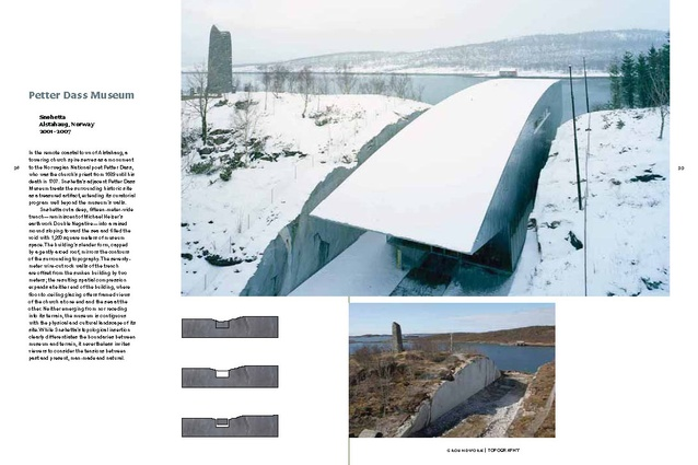 A spread from the <em>Groundwork</em> publication, where Norway's Petter Dass Museum is described as topographical.