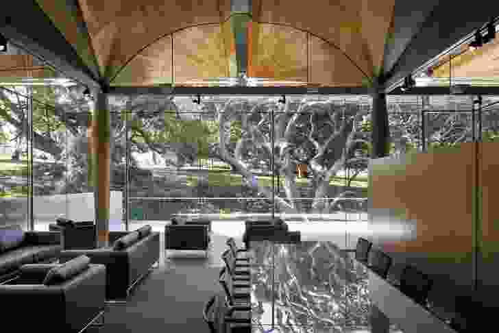 The members lounge occupies the elevated north-east corner of the gallery, looking out to Albert Park.