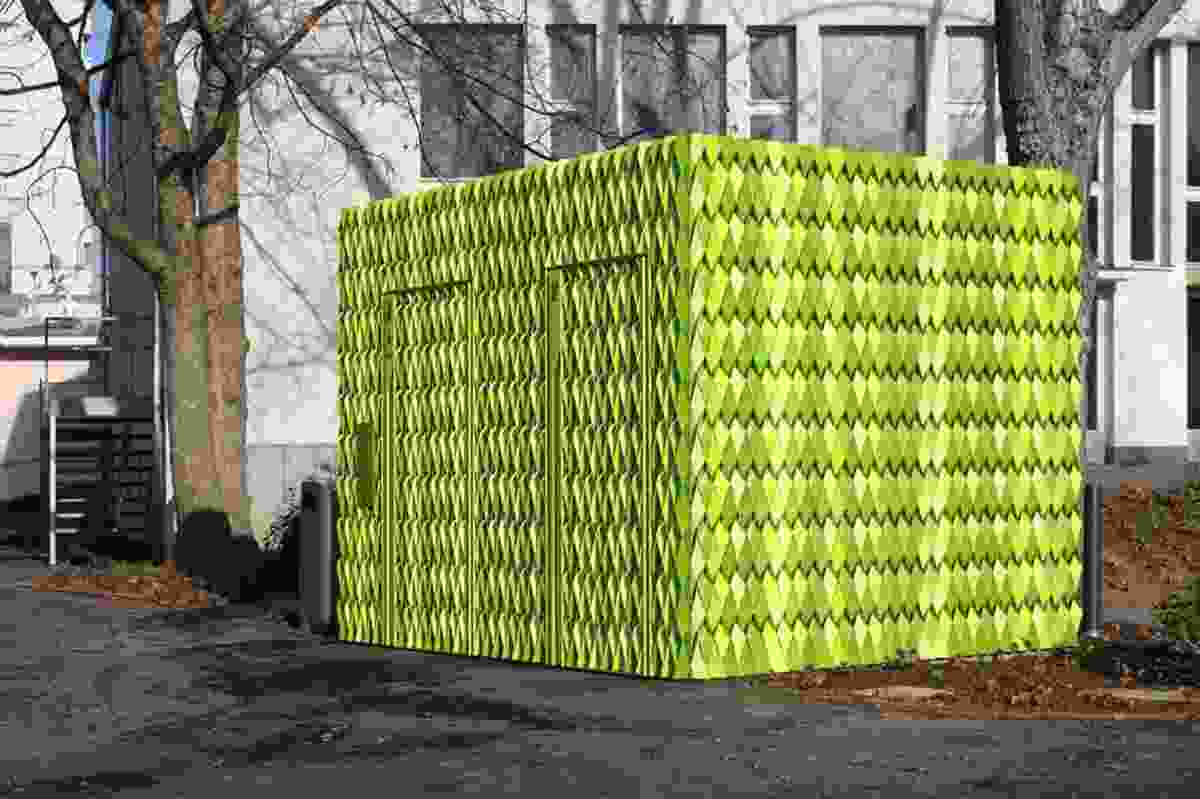 Gramazio & Kohler's public toilet for the city of Ulster. Its parametric facade uses folded, coloured aluminium strips.