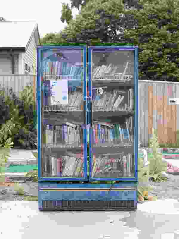Think Differently Book Exchange: A book exchange in refrigerator form on a vacant Christchurch site.