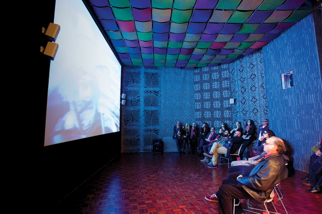 Visitors watch <em>Now + When</em> at a purpose-built 3D viewing room at the Object Gallery.