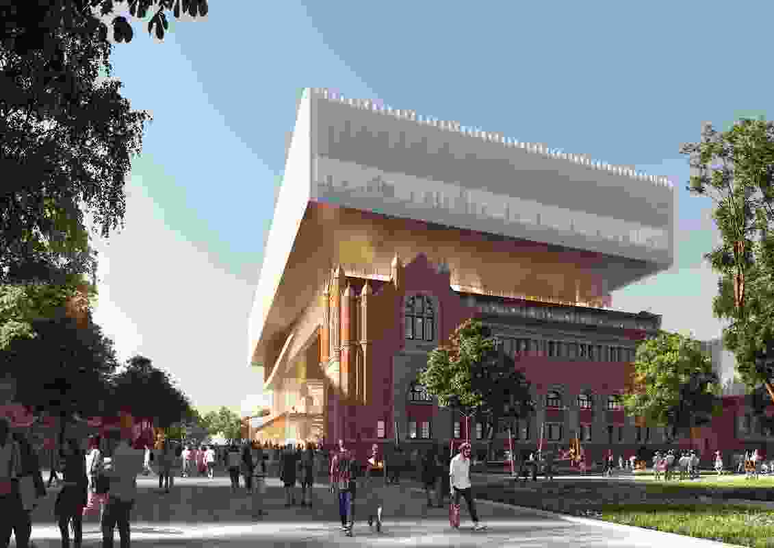 Proposed view from Perth Cultural Centre of the new WA Museum designed by Hassell and OMA with managing contractor Brookfield Multiplex.